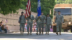 Military Personnel March In A Memorial Day Parade - stock footage
