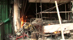 Burnt Out Storefront After Bomb Blast Terror Attack Bombing Blast  - stock footage