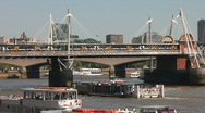 Stock Video Footage of River traffic. Trains and boats with the River Thames in London England