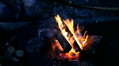 Bonfire at night camp Stock Footage