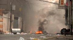 Burning Streets Civil War Terrorist Attack Smoking Ruins Bombed Bangkok, 2010 Stock Footage