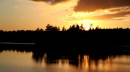 Stock Video Footage of Beautiful sunset on forest lake