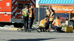Para Medics at bike car accident injury P HD 0805 Stock Footage