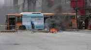 Stock Video Footage of Bus burns in Bangkok Street 2010 Civil War Conflict Protest Terror Bomb
