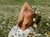 Girl in camomile field Stock Footage