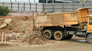 Construction vehicle at construction site Stock Footage