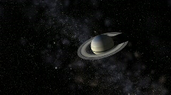 Saturn with satellites in front of star field and Milky Way, HD - stock footage
