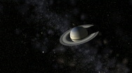 Saturn with satellites in front of star field and Milky Way, HD Stock Footage