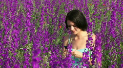 Girl wrote a message on the nature Stock Footage