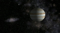 Jupiter with satellites in front of star field and Milky Way, HD - stock footage
