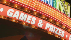 GAMES and PRIZES sign. Stock Footage