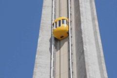 Yellow elevator & modern tower. SD. Stock Footage