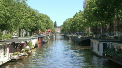 Houseboats, canals and water in Amsterdam Stock Footage