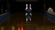 Stock Video Footage of Bowling Pins Hit and Reset