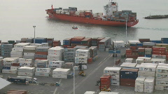 Time lapse of container ship leaving Port Stock Footage
