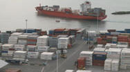 Stock Video Footage of Time lapse of container ship leaving Port