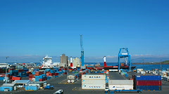 Colorful busy Shipyard in summer, container ship off loading, Reykjavik, Iceland Stock Footage
