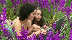 Woman and child on the nature - stock footage