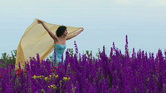 Girl with developing shawl Stock Footage