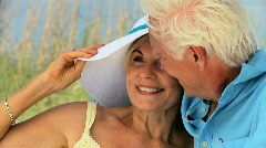 Stock Video Footage of Contented Senior Beach Lifestyle 60FPS