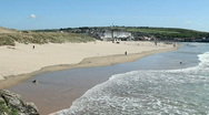 Perranporth beach in Cornwall UK. Stock Footage