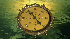 Compass Over The Ocean (green) - Compass 07 (HD) Stock Footage