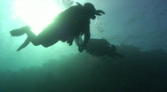 Stock Video Footage of Silhouette of scuba divers