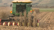 Corn harvester at end of row Stock Footage