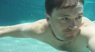 Stock Video Footage of Man Swimming Underwater in Pool