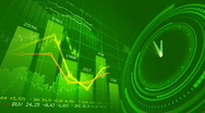 Stock Video Footage of Stock market chart and clock