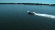 Stock Video Footage of Aerial Power Boat T Lake