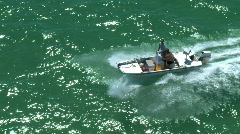 Aerial Flats Boat Underway Stock Footage