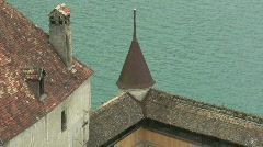 Roof of the Chillon pull back Stock Footage