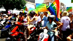Gay Pride Parade in Tel Aviv, Israel Stock Footage