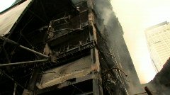 BOMBED OUT BUILDING Smoking Ruins of Destroyed Bombed Building Terror Attack War Stock Footage