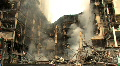 BOMBED OUT BUILDING Smoking Ruins of Destroyed Bombed Building Terror Attack War Footage
