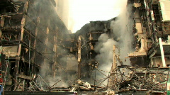 BOMBED OUT BUILDING Smoking Ruins of Destroyed Bombed Blast Terror Attack War Stock Footage