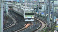 Commuter train passes at Ueno Train Station in Tokyo Footage