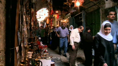 Streets Of The Muslem Quarter In Jerusalem 3 + Sound Stock Footage