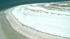 Aerial White Sandy Beach Stock Footage
