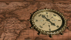 Background With Old Map and Compass - Compass 09 (HD) Stock Footage