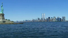 Lower Manhattan With Twin Towers of World Trade Center from Liberty Island - stock footage