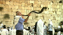 Stock Video Footage of Western wall - Ram's horn (shofar) 3 + Sound