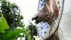 Fountain in Park Guell, Barcelona Stock Footage