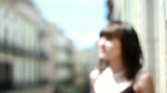 Woman on the balcony - stock footage