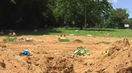 Stock Video Footage of Open Grave awaiting for Coffin - Burial Casket 2