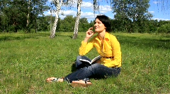 Woman with notebook Stock Footage