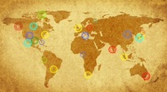 Map of world.Retro style. Stock Footage