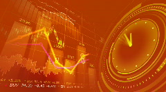 Stock market chart and clock Stock Footage