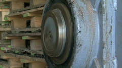 Pulverizing wheel at work Stock Footage